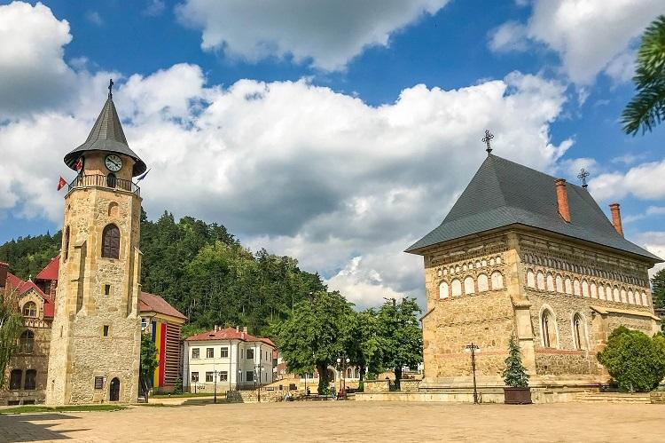 "Tower of Ștefan the Great alongside the ""Nașterea Sf. Ioan Botezătorul"" Church, in the Princely Court. Turnul lui Stefan cel Mare - Piatra Neamt"