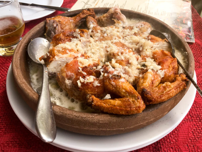 Tabaca Chicken with Garlic Sauce, georgian cuisine