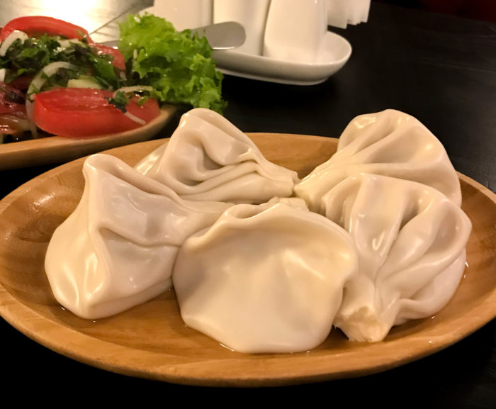 Khinkali - georgian dumplings filled with a mix of lamb and beef and various herbs. They can also be filled with cheeses, potatoes, or onions.