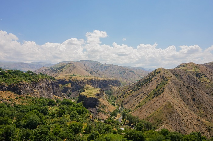 The area is part of an impressive natural fortress complex, towering 300 feet over the river Azat below, and beyond it – lush, green forests teeming with deer, antelope, and leopards. The area feels almost like a sacred place, the Khosrov Forest providing a geographical respite from the increasingly dry and arid lands of southern Armenia.
