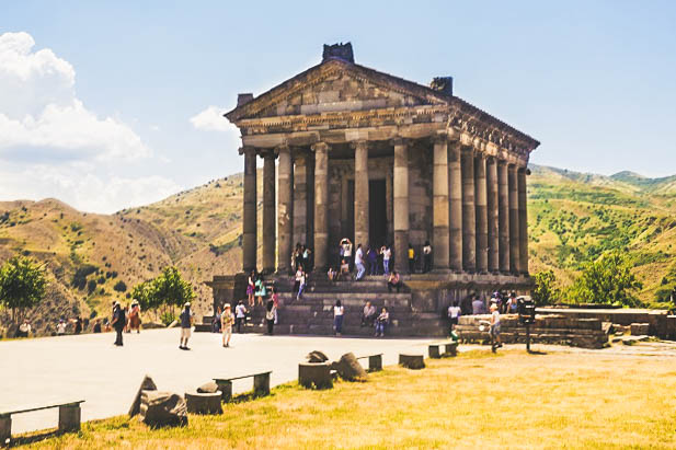 Perched along the arid cliffs overlooking the meandering river Azat, the town is famous for the impressive Temple of Garni.