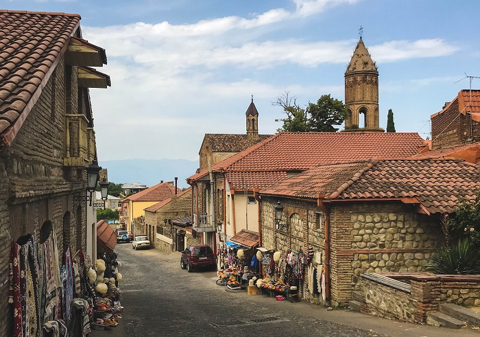 old town and market in sighnaghi georgia