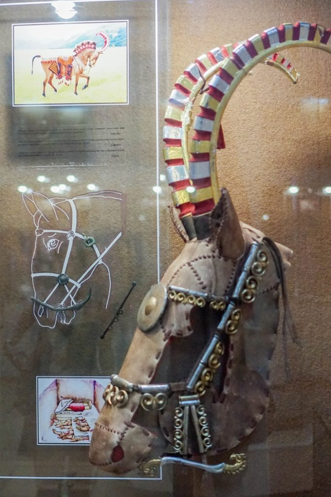 There were exhibits displaying the interior structure of the Saka burial mounds, as well as armor (including for horses), weapons, and jewelry.