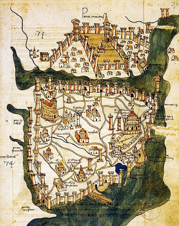In 1422, the Florentine traveler and cartographer Cristoforo Buondelmonti created a map of Constantinople that depicts the column in a new state.