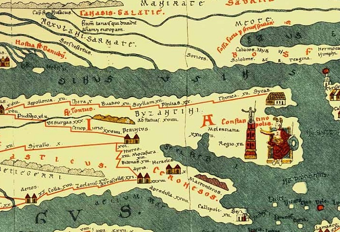 Peutinger Map, all roads lead to Rome - map of Constantinople