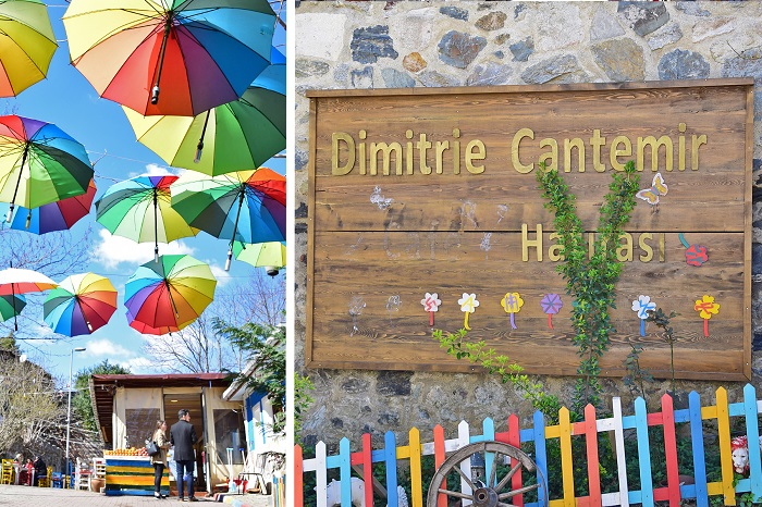 The courtyard is used as a café these days, where you can find families enjoying juices, soft drinks, and ice cream on warm days. There are also many colorful umbrellas, providing a more relaxing atmosphere.